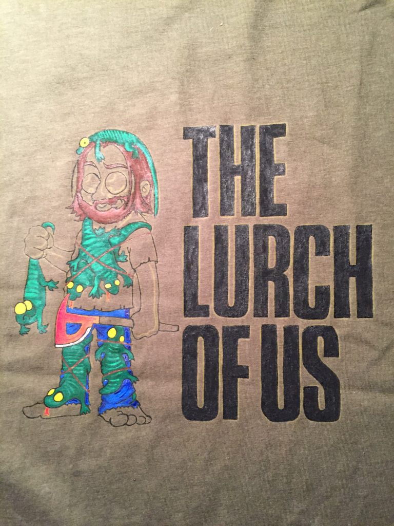 Stoffe bemalen - Gronkh Shirt - Lurch of us - handbemalt - The Forest Let's Play